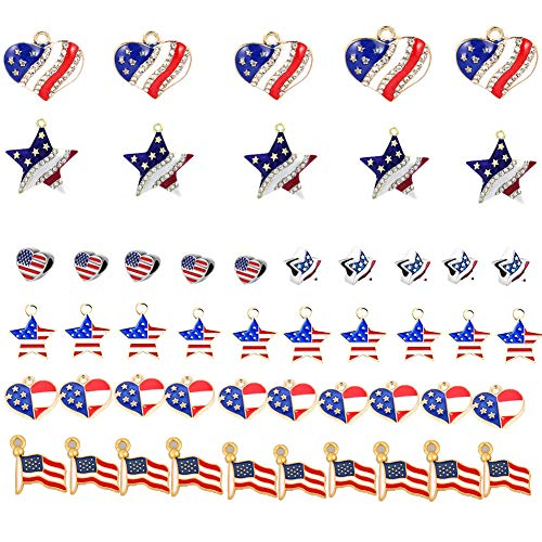 50pcs Assorted USA American Flag Patriotic Star Heart Shaped Charm Beads Set Pendant Patriotic Enamel Charms for 4th Independence Day Ornament of July DIY Decoration Jewelry Making