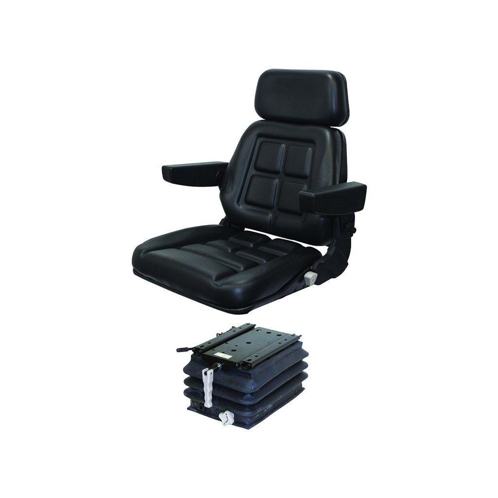K&M Manufacturing 6609 JD Utility Series Angled Support KM 235 UNI PRO Seat with Compact Mechanical Suspension