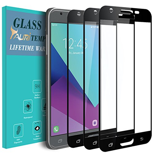 ([3-Pack] TAURI for Samsung Galaxy J7 Prime / J7 V/Galaxy Halo / J7 2017 [Full Cover][Tempered Glass] Screen Protector with Lifetime Replacement Warranty - Black)