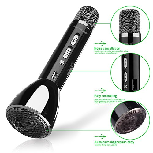 Price comparison product image Keynice Bluetooth Wireless Speaker Handheld Microphone for Karaoke Singing compatible with Android Smartphone Apple iPhone Cellphones,  Singing Anytime Anywhere - Black