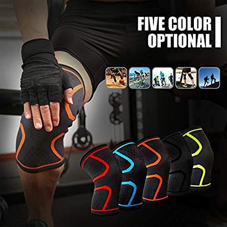 Anti-Skid Protective Knee Wraps Pads for Sports Running Jogging size L Blue BEARCOLO Unisex Compression Knee Support Brace for Joint Pain