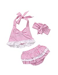 Baby Girls Striped Halter Dress + Bottom + Headband 3Pcs Outfits Set