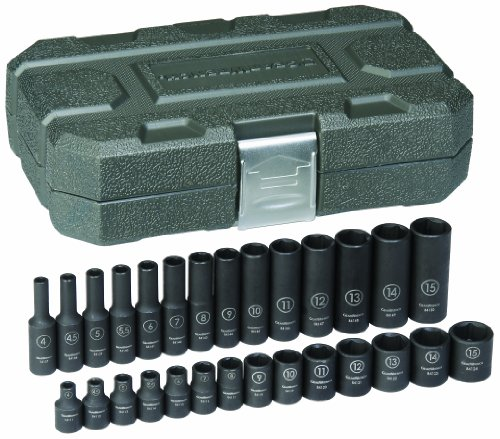 GEARWRENCH 28 Pc. 1/4″ Drive 6 Point Standard & Deep Impact Metric Socket Set – 84901
