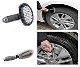 JRong 2 Pcs Steel and Alloy Wheel Cleaning Brush, Rim Cleaner for Your Car, Motorcycle or Bicycle Tire Brush Washing Tool