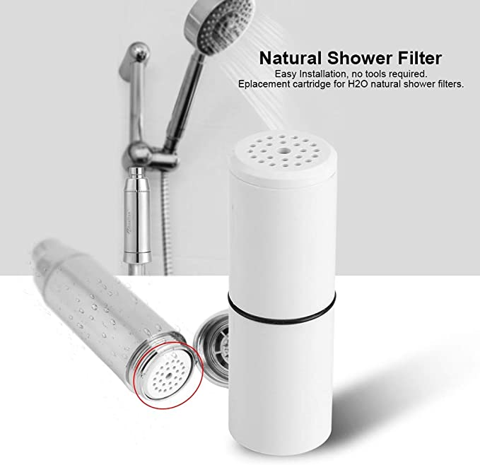 OKBY Cartouche de Rechange Wheelton Natural-Composite-Shower-Filter-Set pour H2O Composite de Filtre de Douche Naturel Chlore de Sortie
