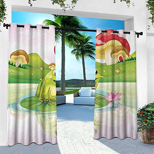 (Hengshu Animal, Outdoor Blackout Curtains,Illustration of Cute Frog on Water Lily with Mushrooms on The Background Nature Lake, W96 x L96 Inch, Multicolor)