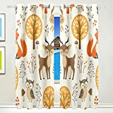 Vantaso Window Curtains 84 Inch Long Cute Forest Animal Owls Fox Deer for Kids Girls Boys Bedroom Living Room Polyester 2 Pannels
