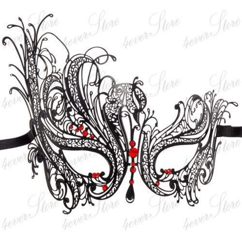Morrenz - Filigree Devil mask Skull Venetian Masquerade Gold Mardi Gras Costume mascaras Halloween mask Laser Cut Metal Carnival mask [ BF001BRed ]