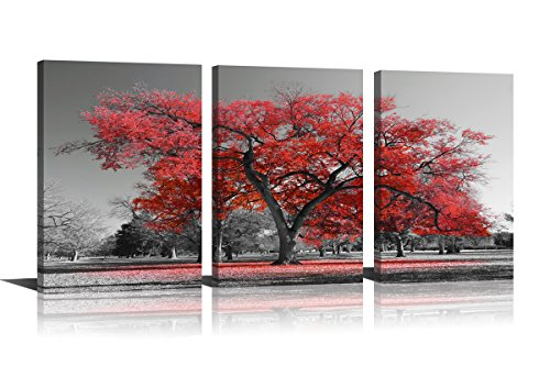 Red Tree Wall Art Landscape Oil Painting Nature Beauty  Print