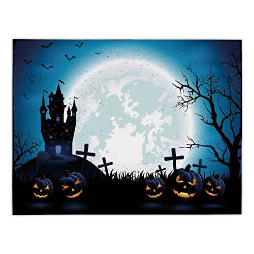 Polyester Rectangular Tablecloth,Halloween Decorations,Spooky Concept with Scary Icons