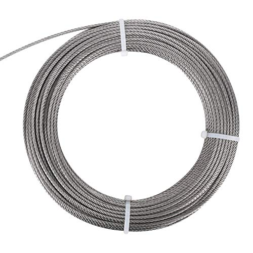 FOLUXING 316 Stainless Steel Wire Rope 1/8'' Aircraft Wire Rope Cable 7x7 for Railing Kit,Decking, DIY Balustrade(164Ft) by FOLUXING