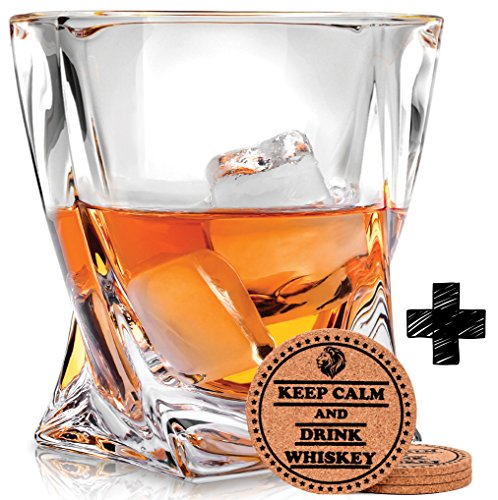 Twist Whiskey Glasses - Set of 4 - by Vaci + 4 Drink Coasters, Ultra Clarity Crystal Scotch Glass, Malt or Bourbon, Glassware Gift Set by Vaci Glass (Image #2)