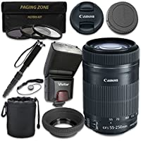 Canon EF-S 55–250mm f/4–5.6 IS STM Lens with Vivitar TTL Flash + 3pc Filter Kit + Monopod