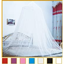 Round Hoop Bed Canopy Netting Mosquito Net Fit Crib, Twin, Full, Queen, King (White)