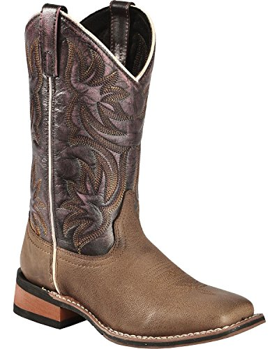 Laredo Women's Fancy Stitched Purple Cowgirl Boot Square Toe Dark Brown 7 M US
