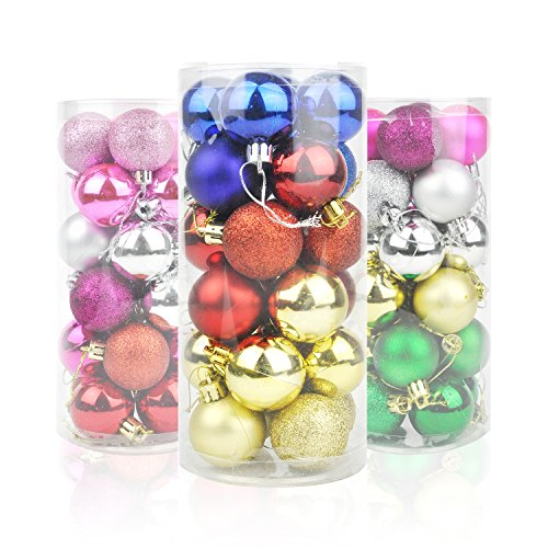 Honeyhome Multicolor Christmas Ball Decorations (40mm/1.57in), Tree Shatterproof Colorful Balls Ornaments, Festive Hanging Decor Pack of 24pcs - Trees Colorful Christmas
