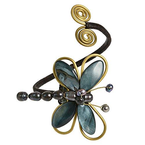 AeraVida Chic Organic Black Cultured Freshwater Pearl-Mother of Pearl Dragonfly Handmade Cuff Bracelet ()