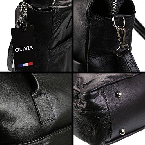 OLIVIA, Borsa a mano donna marrone nero