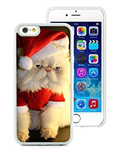 Personalized Hard Shell iPhone 6 Case,Christmas Cat White iPhone 6 4.7 Inch TPU Case 14