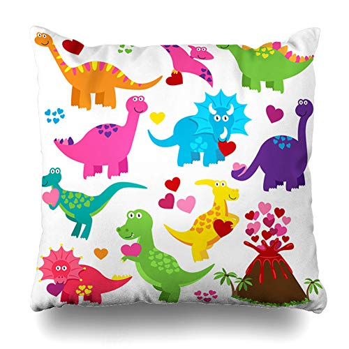 Ahawoso Throw Pillow Covers Archaeological Party Valentines Day Love Dinosaur Holidays Rex Costume Heart Volcano Ancient Design Home Decor Pillowcase Square Size 18 x 18 Inches Zippered Cushion Case