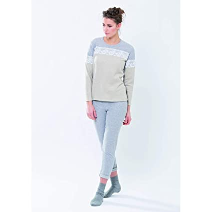 Pijama de para mujer de invierno de forro polar con aplicación de encaje BEIGE/GRIGIO