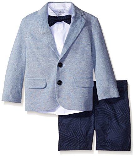 Nautica Little Boys' Knit Pique/Palm Print Short Set with Bow Tie, Navy, 7 (Boys Short Suits)