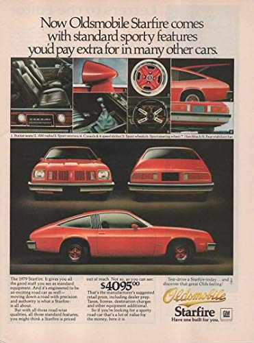 "Magazine Print Ad: Red 1979 Oldsmobile Starfire, 4095,"".With tandard Sporty Features You'd Pay Extra For in Many Other Cars"""