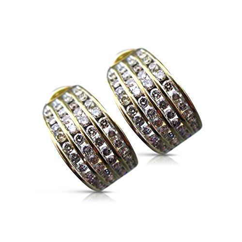 Milano Jewelers WIDE 3.0CT FANCY DIAMOND 14KT TWO TONE GOLD 4 ROW HUGGIE EARRINGS (14kt 2 Tone Diamond Earrings)