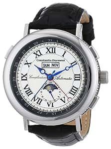 Constantin Durmont Austin - Reloj analógico de caballero automático con correa de piel negra - sumergible a 30 metros