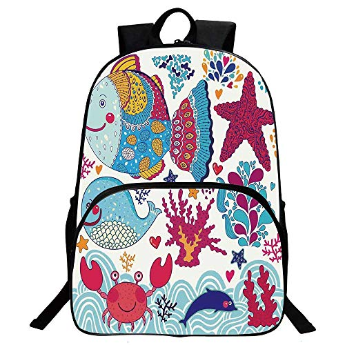 Whale Beautiful School Backpack,Funny Fishes Starfish Coral Crab Underwater Life Waves Marine Clipart Illustration For classroom,11.8