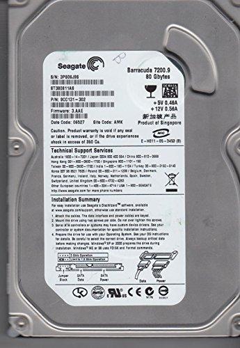 ST380811AS, 3PS, AMK, PN 9CC131-302, FW 3.AAE, Seagate 80GB Sata 3.5 Hard Drive