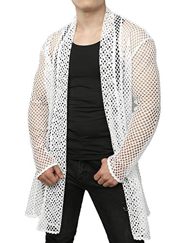 JOGAL Men's Mesh Fishnet Fitted Muscle Cardigan Large WG05 ()