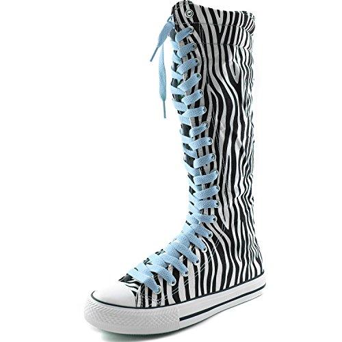 Dailyshoes Femmes Toile Mi-mollet Bottes Hautes Casual Sneaker Punk Zèbre Plat Bottes, Bébé Bleu Dentelle