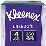 Kleenex Ultra Soft Facial Tissues, 4 Cube Boxes, 65 Tissues per Box (260 Tissues Total): more info