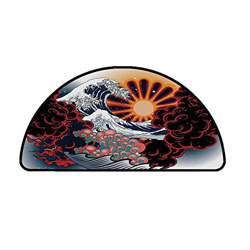 Tattoo Decor Comfortable Semicircle Mat,Brave Native American Warrior Chief of Tribe with Noble White Horse Print for Living Room,33.4