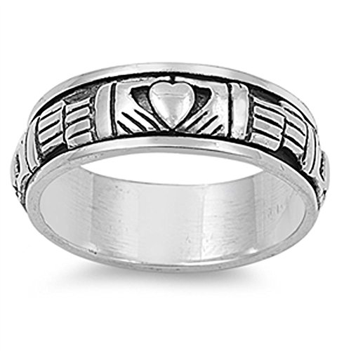 Sterling Silver Women's Men's Claddagh Spinner Ring Celtic Band 9mm Size 9