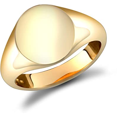 de8e300bd1d83 Jewelco London Men's Solid 9ct Yellow Gold Oval Signet Ring