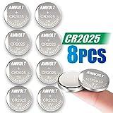 8 Pack AmVolt CR2025 Battery 3 Volt Lithium Battery Coin Button Cell 2025 Expiry Date