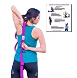 The Professional Fitness Band by Gym Life: A Perfect Exercise Band, Yoga Stretch Strap & Rehabilitation Physical Therapy Tool for Men & Women, 6 Foot Strap with 10 Loops, Non-Elastic (purple, Large)