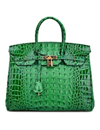 Ainifeel Women's Crocodile Embossed Office Handbag Top Handle Handbag