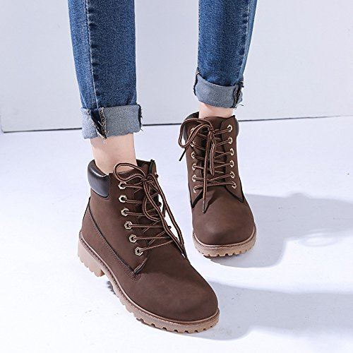 E-FAK Women's Two Tone Lace Up Low Heel Work Combat Boots Waterproof Ankle Bootie