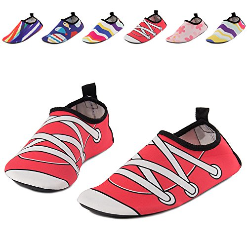 UMmaid Kids Toddler Water Swim Shoes Barefoot Aqua Socks for Beach Pool Surf Yoga 8-9 Toddler Red 26/27