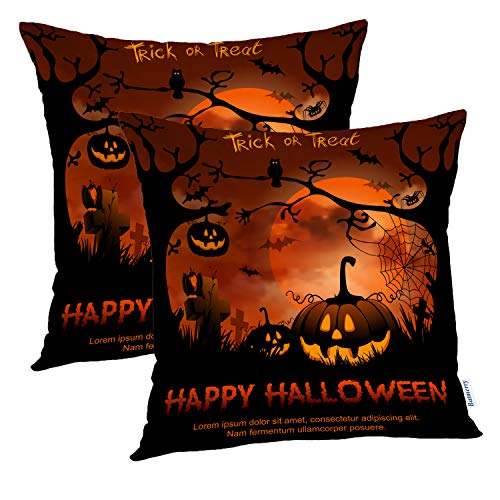 (Batmerry Halloween Pillow Covers 18x18 inch Set of 2,Halloween Night Pumpkin Full Trick Treat Happy Sky Scary Orange Throw Pillows Covers Sofa Cushion Cover)