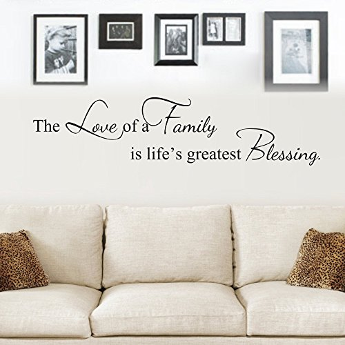 MoharWall The Love of A Family is Life's Greatest Blessing Wall Decals Quote Vinyl Art Lettering Photo Wall Ideas Sticker Living Room - Quotes Life Decals Wall
