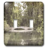3dRose Stamp City - architecture - Photograph of white bridge at Magnolia Plantation and Gardens. - Light Switch Covers - double toggle switch (lsp_289749_2)