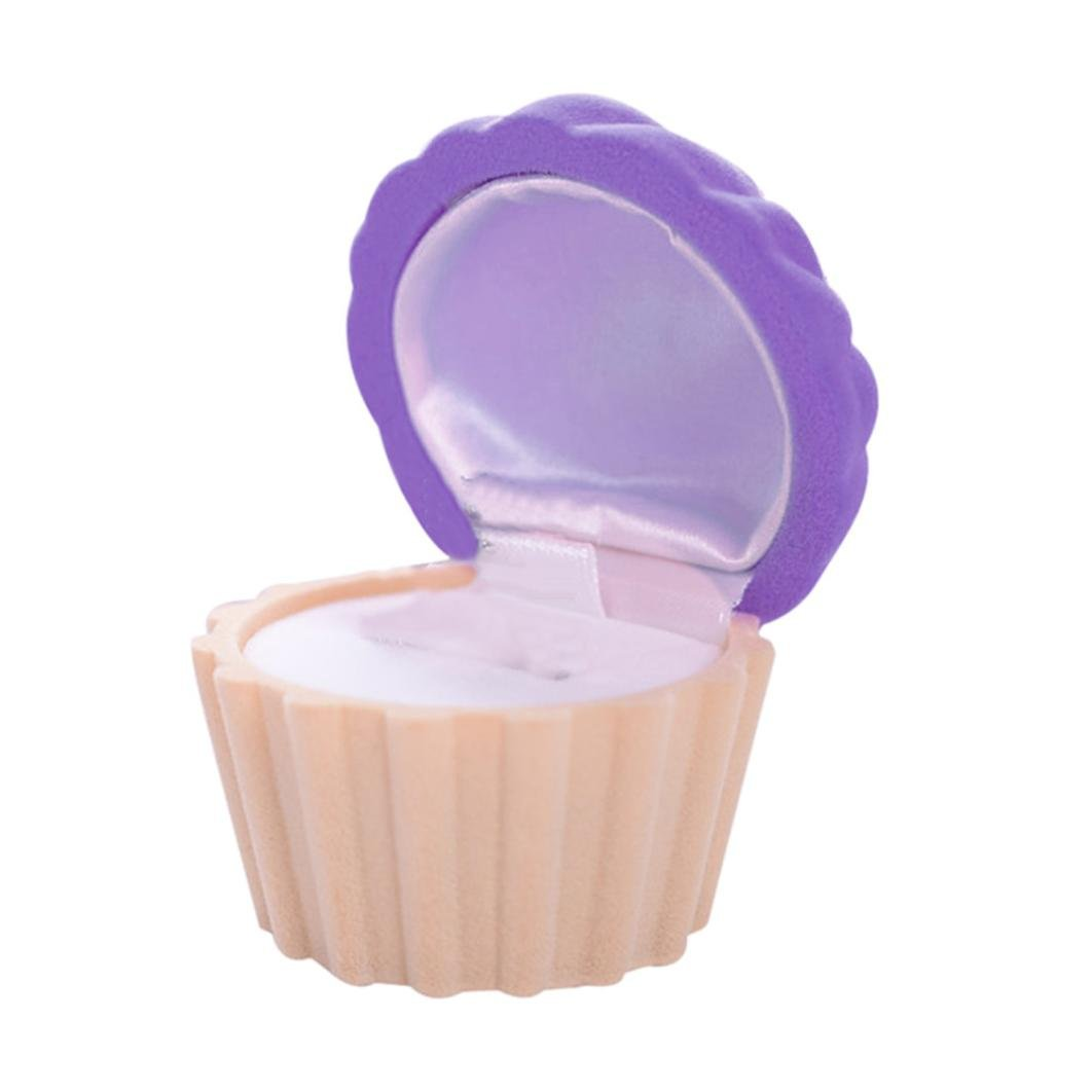 Sannysis Hat Shell Cute Cake Cup Shape Ring Necklace Earring Box Velvet Gift Display Starfish Jewellery Box (Purple)