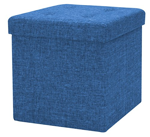 Sorbus Storage Ottoman Faux Linen – Tufted Ottoman Contemporary Folding Bench Chest with Cover – Perfect Toy and Shoe Chest, Pouffe Ottoman, Seat, Foot Rest (Blue)