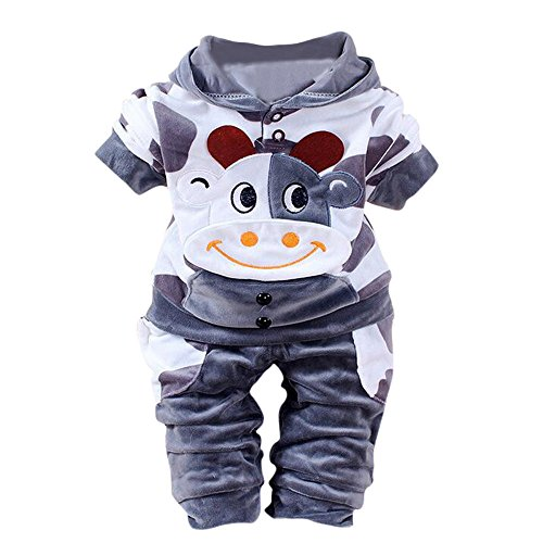 ❤️Mealeaf❤️ Baby Boys and Girls Clothes with Newborn Baby Girls Boys Cartoon Cow Warm Outfits Clothes Velvet Hooded Tops Set (0-6 Months Old, Blue) ()