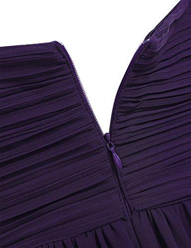 iEFiEL Vestido Largo de Boda Cóctel para Mujer Dama de Honor Escote V Espalda al Aire Morado Oscuro