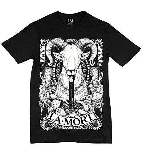 Size Medium La Mort Clothing, Tooth & Ram T Shirt. Ivory Print on Black. (Burlesque Clothing Men)